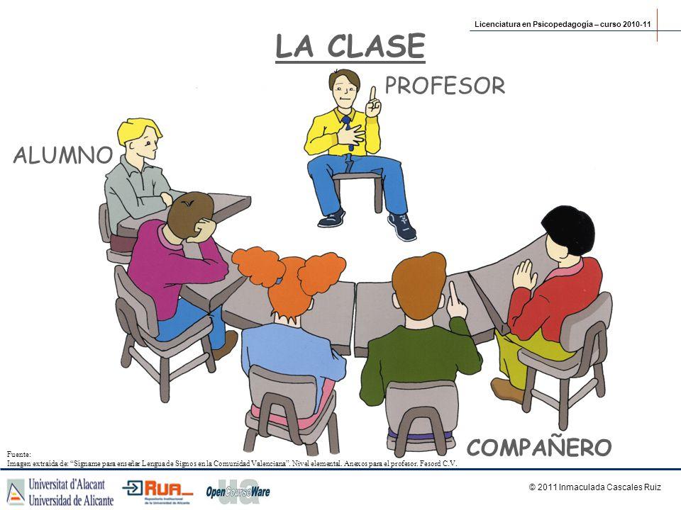 LA CLASE ALUMNO COMPAÑERO PROFESOR Licenciatura en Psicopedagogía – curso 2010-11 © 2011 Inmaculada Cascales Ruiz Fuente: Imagen extraída de: Sígname