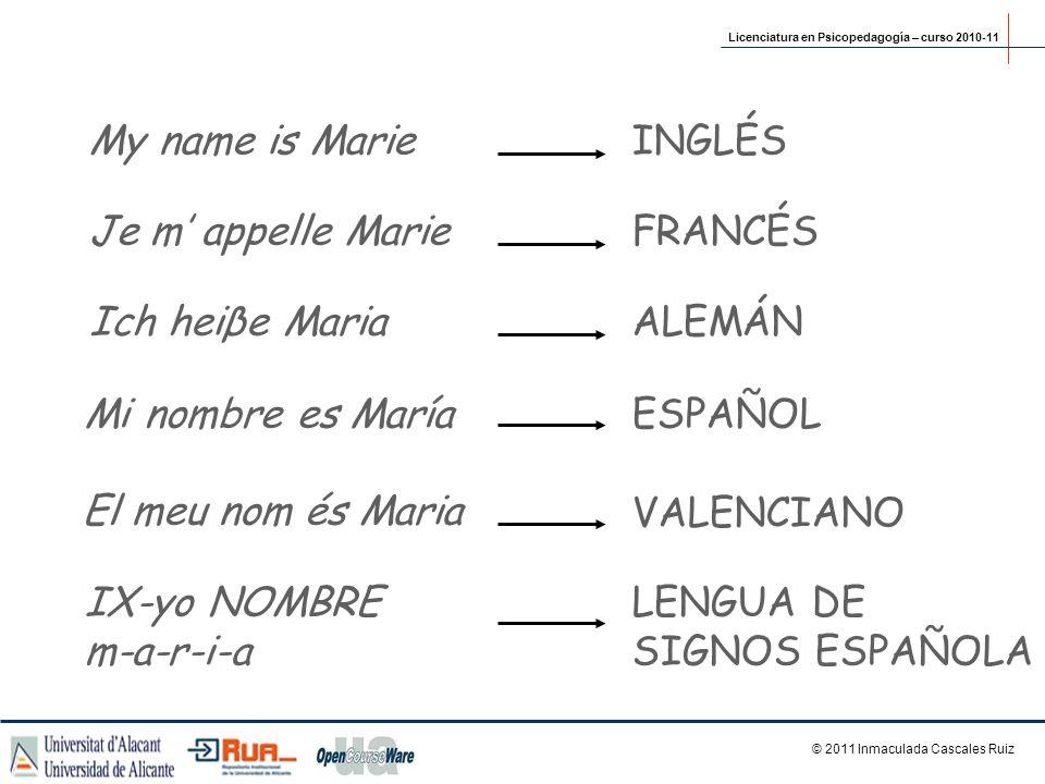 My name is MarieINGLÉS Je m appelle MarieFRANCÉS Mi nombre es MaríaESPAÑOL El meu nom és Maria VALENCIANO IX-yo NOMBRE m-a-r-i-a LENGUA DE SIGNOS ESPA