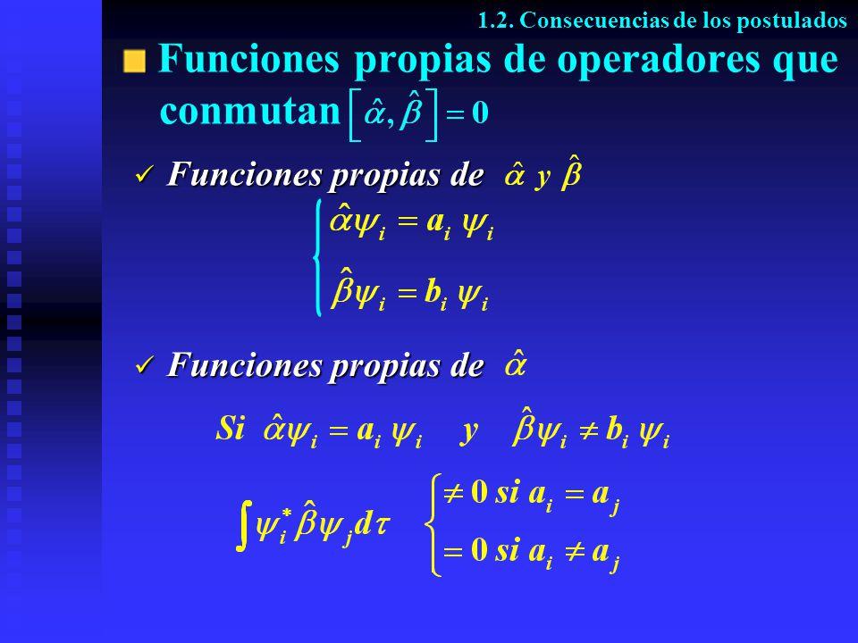Funciones propias de operadores que conmutan 1.2. Consecuencias de los postulados Funciones propias de Funciones propias de