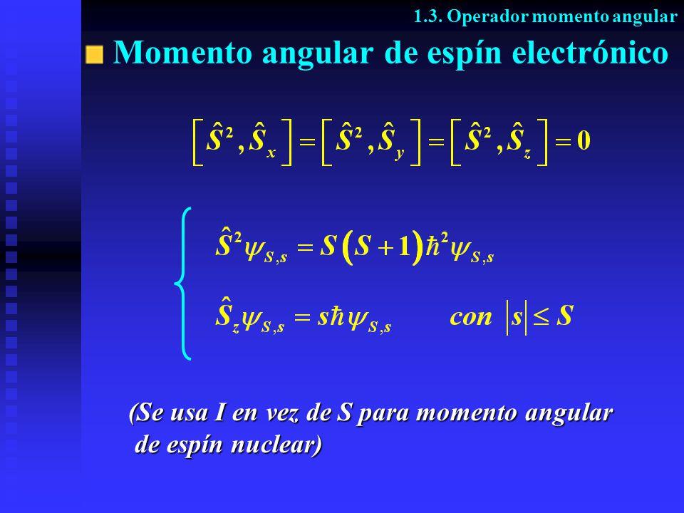 (Se usa I en vez de S para momento angular de espín nuclear) de espín nuclear) 1.3. Operador momento angular Momento angular de espín electrónico