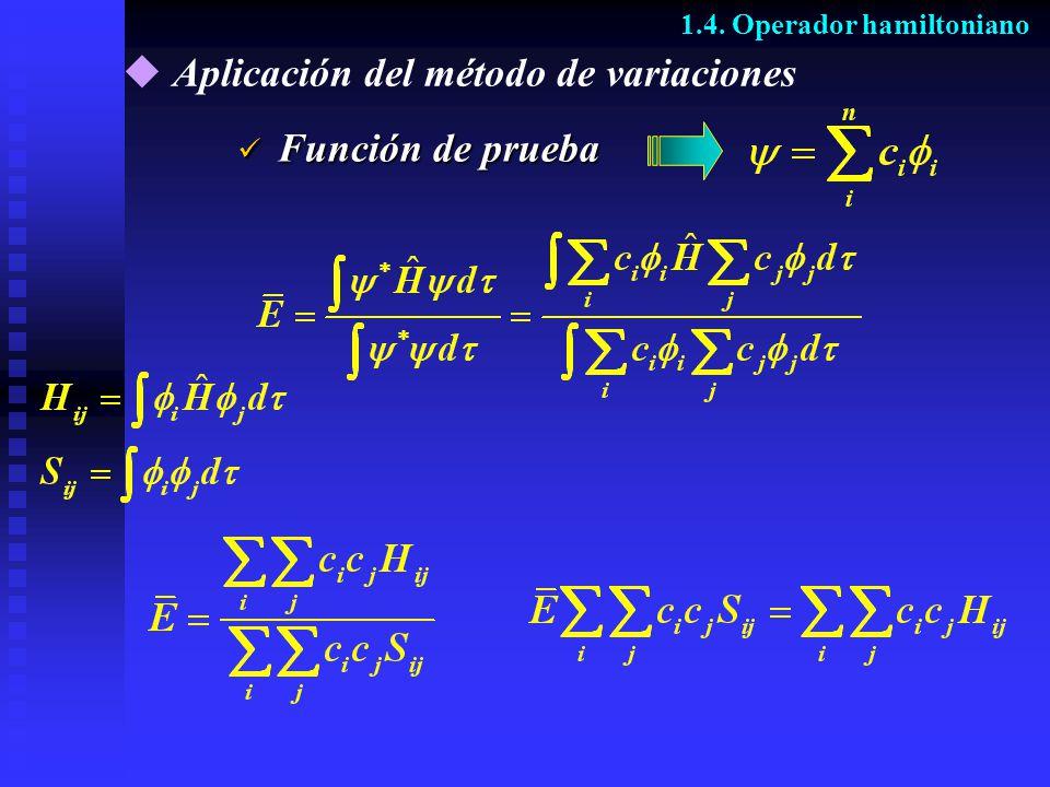 Aplicación del método de variaciones Función de prueba Función de prueba 1.4. Operador hamiltoniano