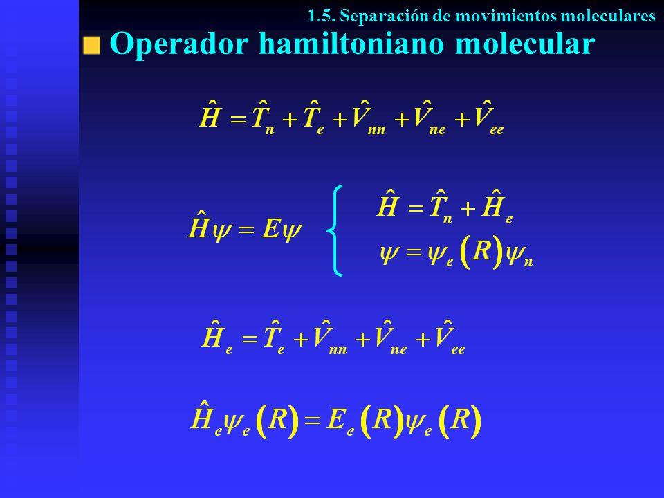 Operador hamiltoniano molecular 1.5. Separación de movimientos moleculares