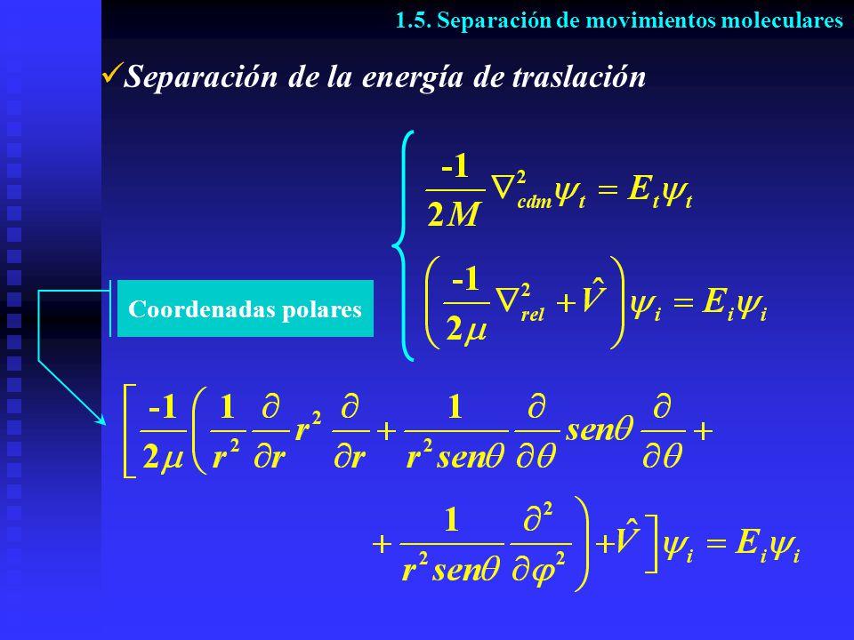 Separación de la energía de traslación 1.5. Separación de movimientos moleculares Coordenadas polares