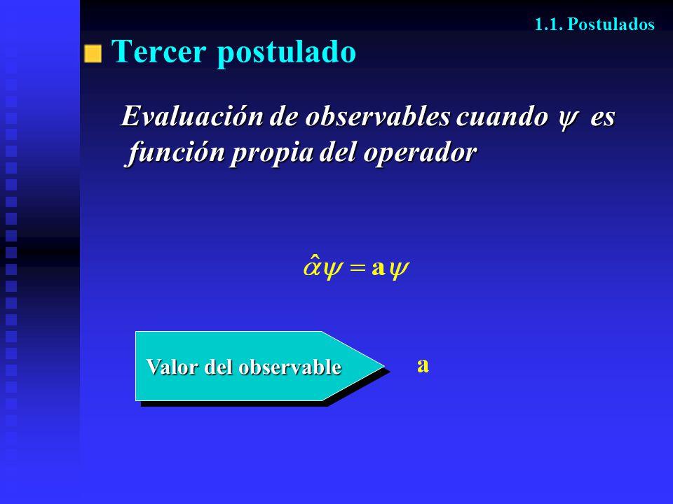 Valor del observable Valor del observable 1.1. Postulados Tercer postulado Evaluación de observables cuando es función propia del operador función pro