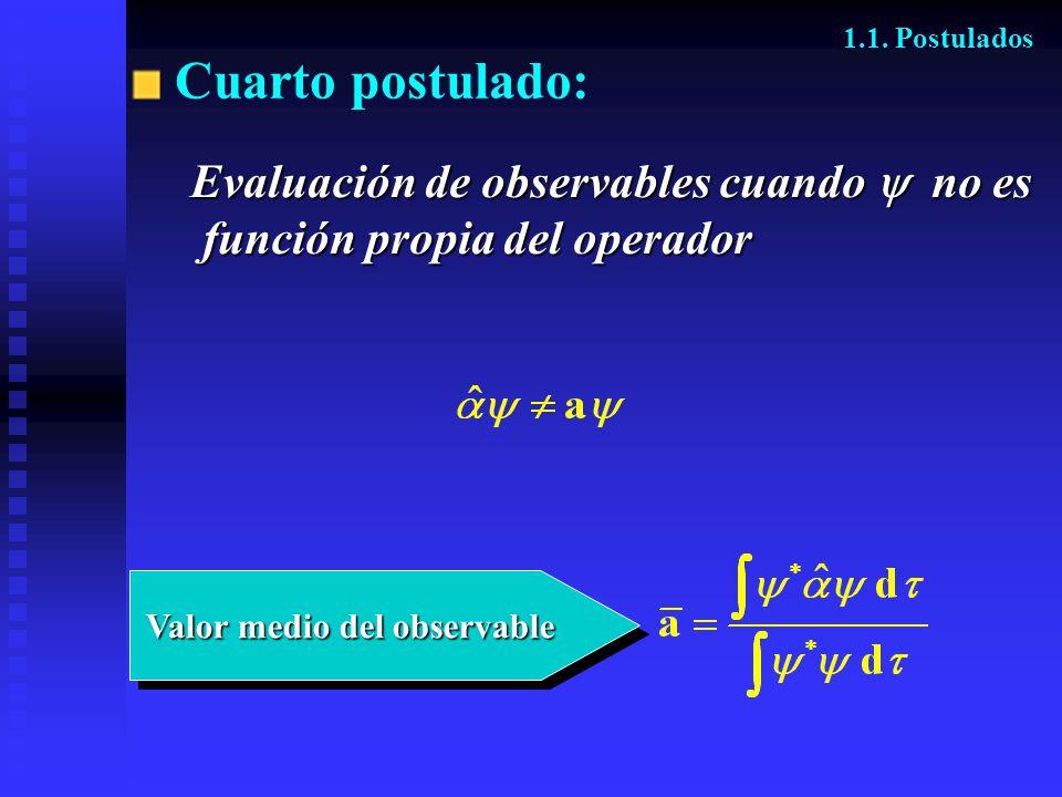 Valor medio del observable Valor medio del observable Cuarto postulado: 1.1. Postulados Evaluación de observables cuando no es función propia del oper