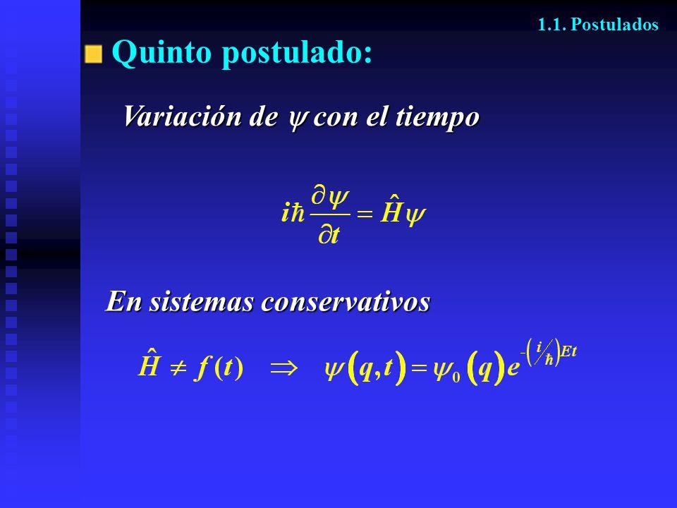 Quinto postulado: 1.1. Postulados En sistemas conservativos En sistemas conservativos Variación de con el tiempo