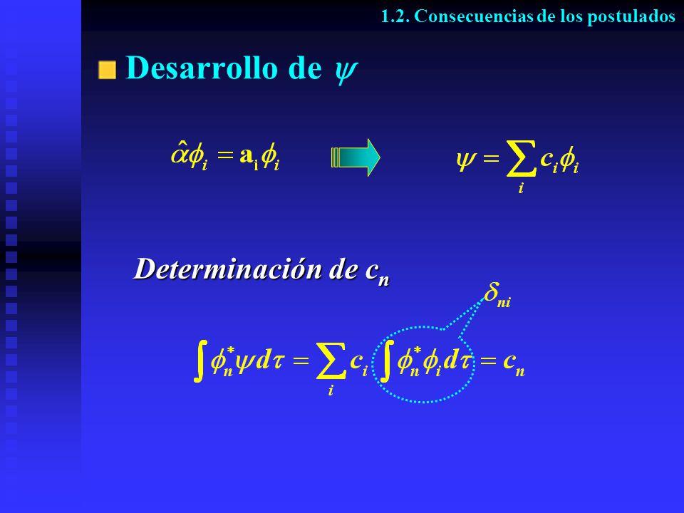 Determinación de c n 1.2. Consecuencias de los postulados Desarrollo de