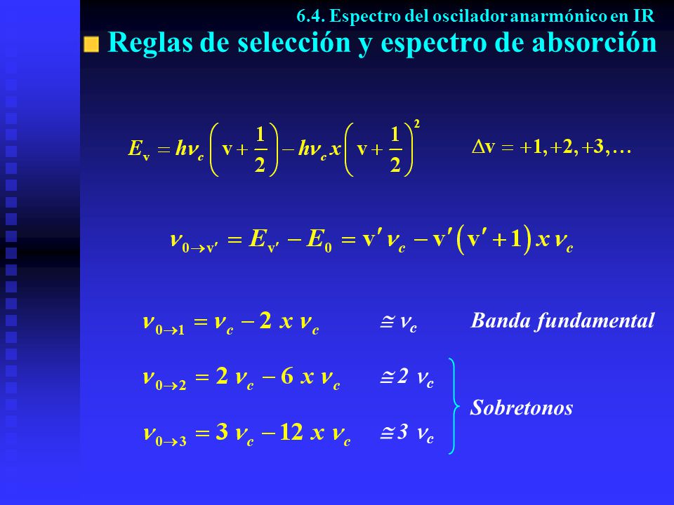 Reglas de selección y espectro de absorción 6.4. Espectro del oscilador anarmónico en IR c 2 c 3 c Banda fundamental Sobretonos