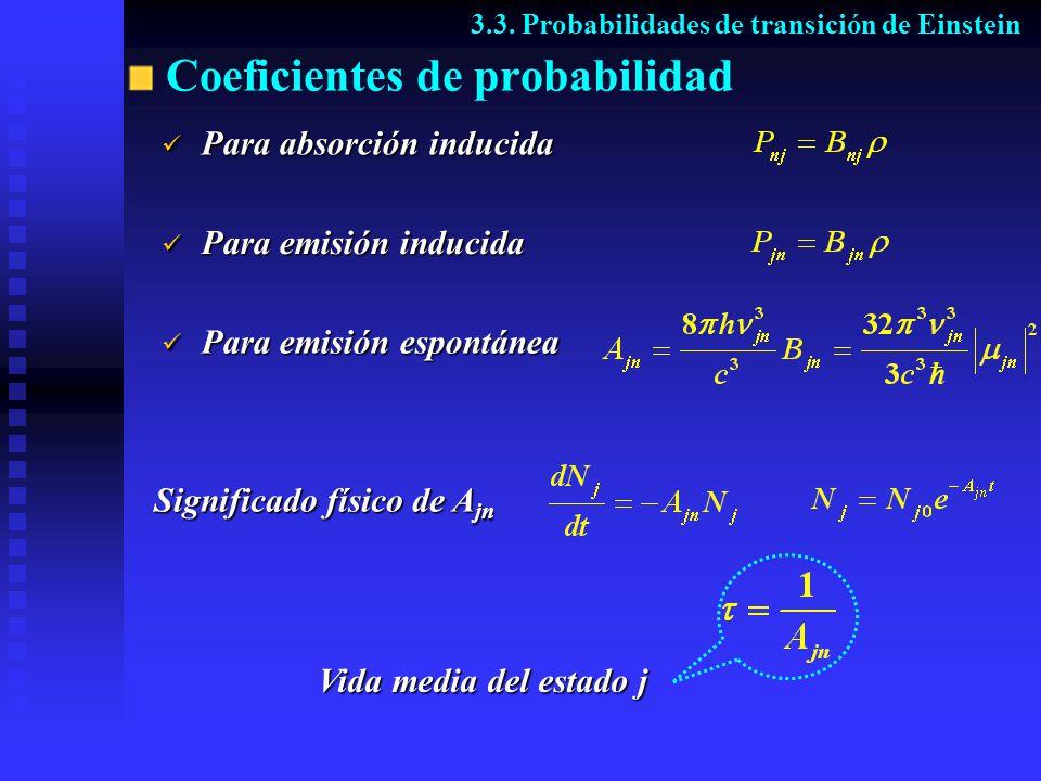 Coeficientes de probabilidad Significado físico de A jn 3.3. Probabilidades de transición de Einstein Para absorción inducida Para absorción inducida