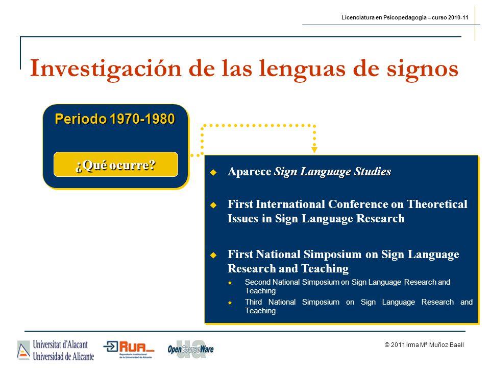 Licenciatura en Psicopedagogía – curso 2010-11 © 2011 Irma Mª Muñoz Baell Investigación de las lenguas de signos Periodo 1970-1980 ¿Qué ocurre? Sign L