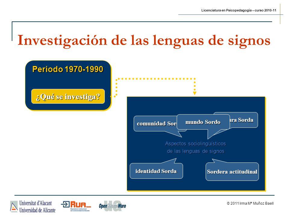Licenciatura en Psicopedagogía – curso 2010-11 © 2011 Irma Mª Muñoz Baell Investigación de las lenguas de signos Periodo 1970-1990 Aspectos sociolingü