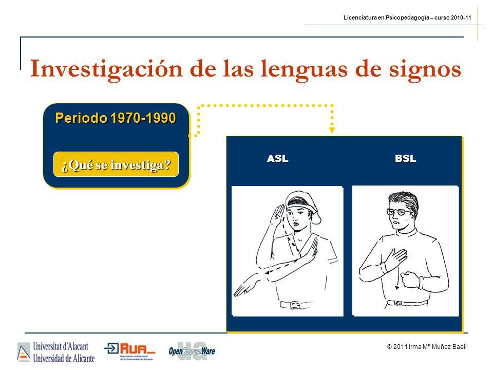 Licenciatura en Psicopedagogía – curso 2010-11 © 2011 Irma Mª Muñoz Baell Investigación de las lenguas de signos Periodo 1970-1990 ¿Qué se investiga?