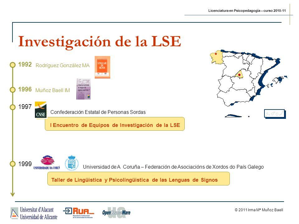 Licenciatura en Psicopedagogía – curso 2010-11 © 2011 Irma Mª Muñoz Baell 1997 I Encuentro de Equipos de Investigación de la LSE Confederación Estatal