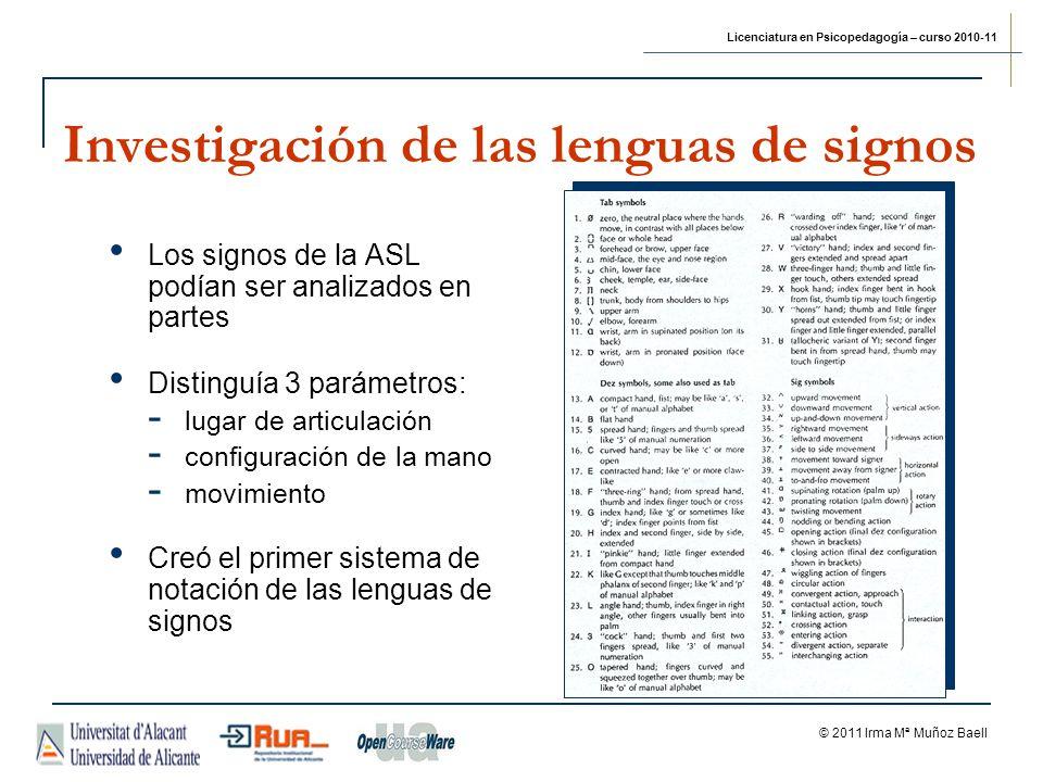 Licenciatura en Psicopedagogía – curso 2010-11 © 2011 Irma Mª Muñoz Baell Investigación de las lenguas de signos Los signos de la ASL podían ser anali