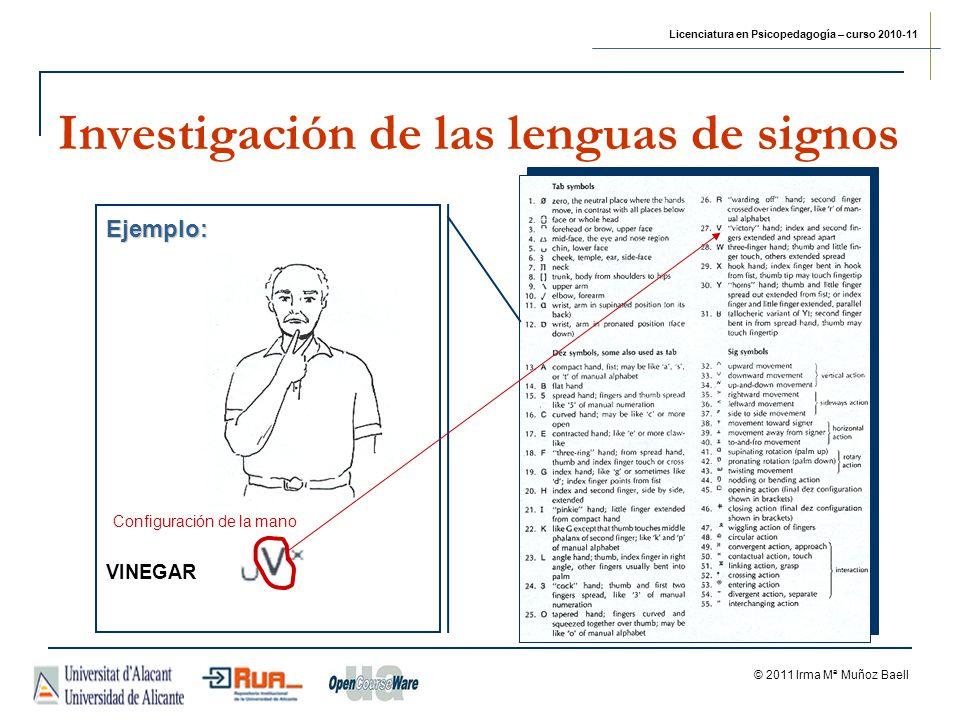 Licenciatura en Psicopedagogía – curso 2010-11 © 2011 Irma Mª Muñoz Baell Investigación de las lenguas de signos Ejemplo: VINEGAR Configuración de la