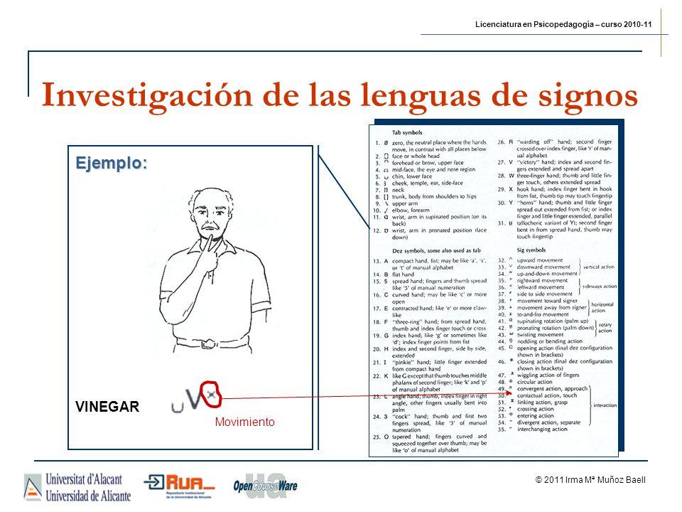 Licenciatura en Psicopedagogía – curso 2010-11 © 2011 Irma Mª Muñoz Baell Investigación de las lenguas de signos Ejemplo: VINEGAR Movimiento