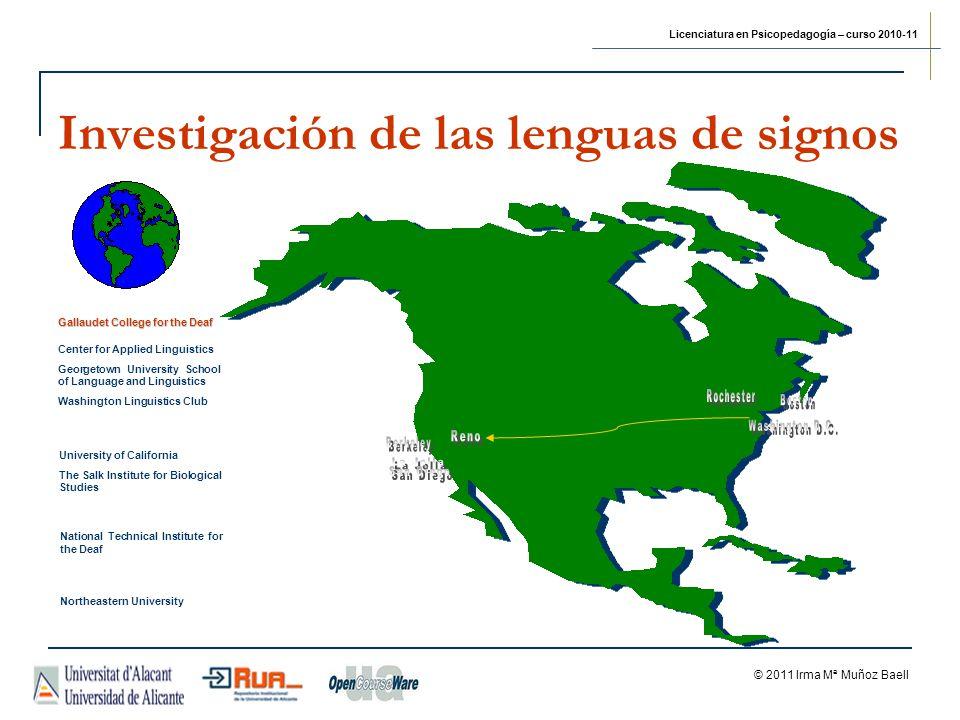 Licenciatura en Psicopedagogía – curso 2010-11 © 2011 Irma Mª Muñoz Baell Investigación de las lenguas de signos Center for Applied Linguistics George
