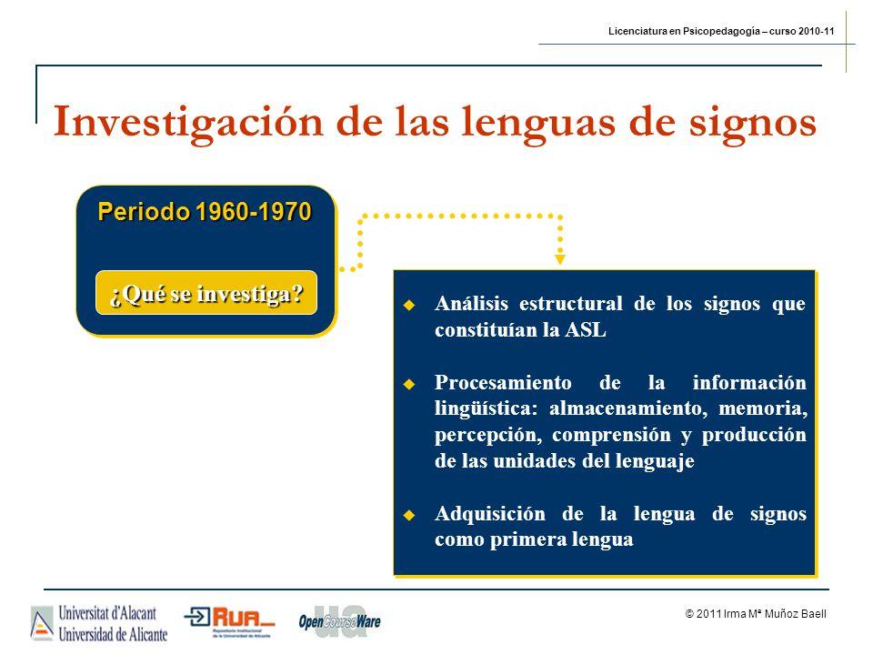 Licenciatura en Psicopedagogía – curso 2010-11 © 2011 Irma Mª Muñoz Baell Investigación de las lenguas de signos Periodo 1960-1970 Análisis estructura