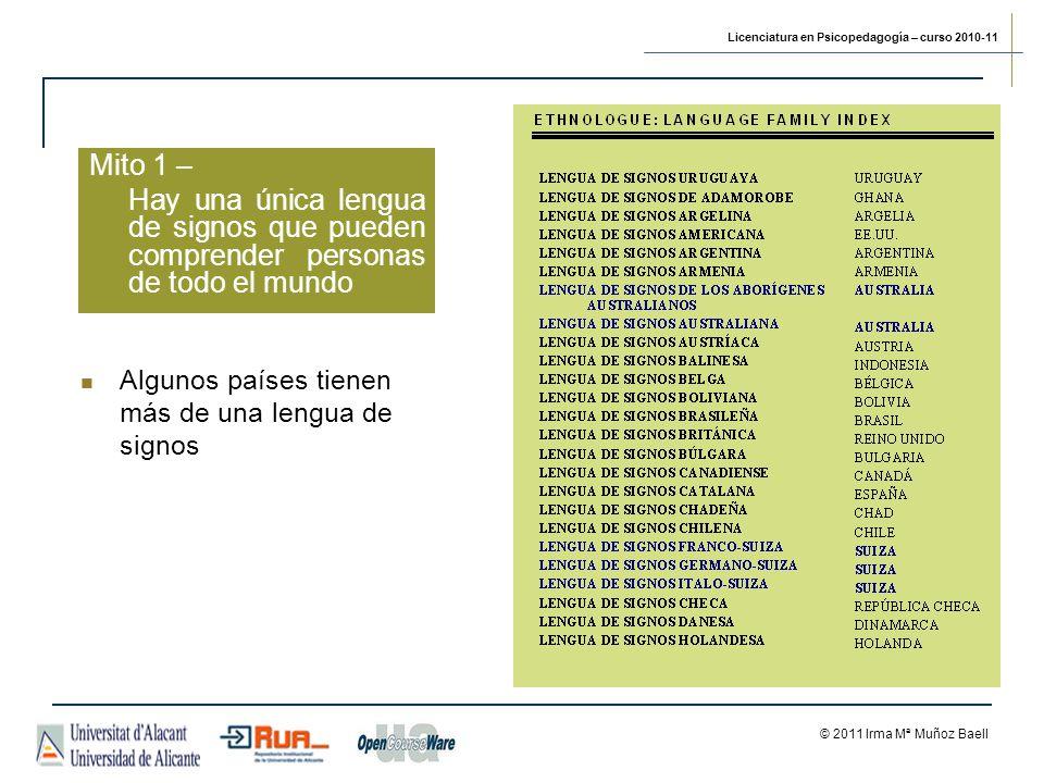 Licenciatura en Psicopedagogía – curso 2010-11 © 2011 Irma Mª Muñoz Baell Mito 1 – Hay una única lengua de signos que pueden comprender personas de todo el mundo Algunos países tienen más de una lengua de signos