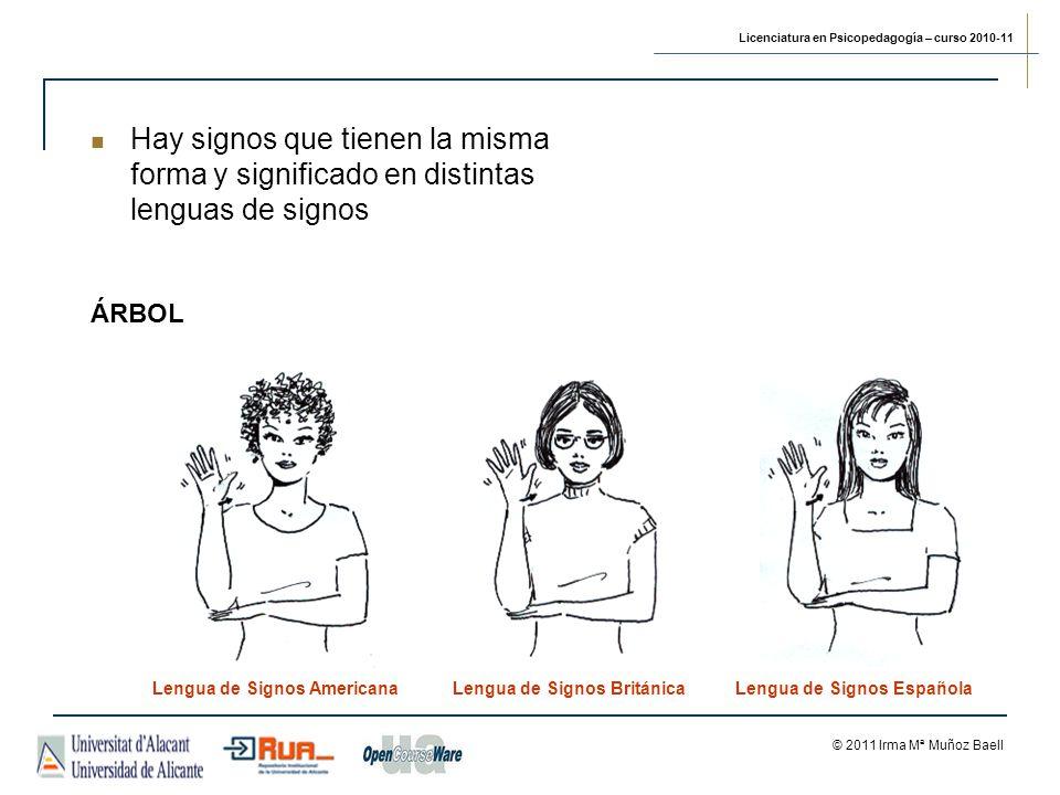 Licenciatura en Psicopedagogía – curso 2010-11 © 2011 Irma Mª Muñoz Baell ÁRBOL Lengua de Signos AmericanaLengua de Signos BritánicaLengua de Signos Española Hay signos que tienen la misma forma y significado en distintas lenguas de signos