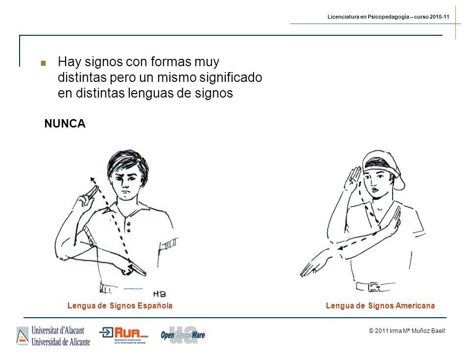 Licenciatura en Psicopedagogía – curso 2010-11 © 2011 Irma Mª Muñoz Baell NUNCA Lengua de Signos EspañolaLengua de Signos Americana Hay signos con formas muy distintas pero un mismo significado en distintas lenguas de signos