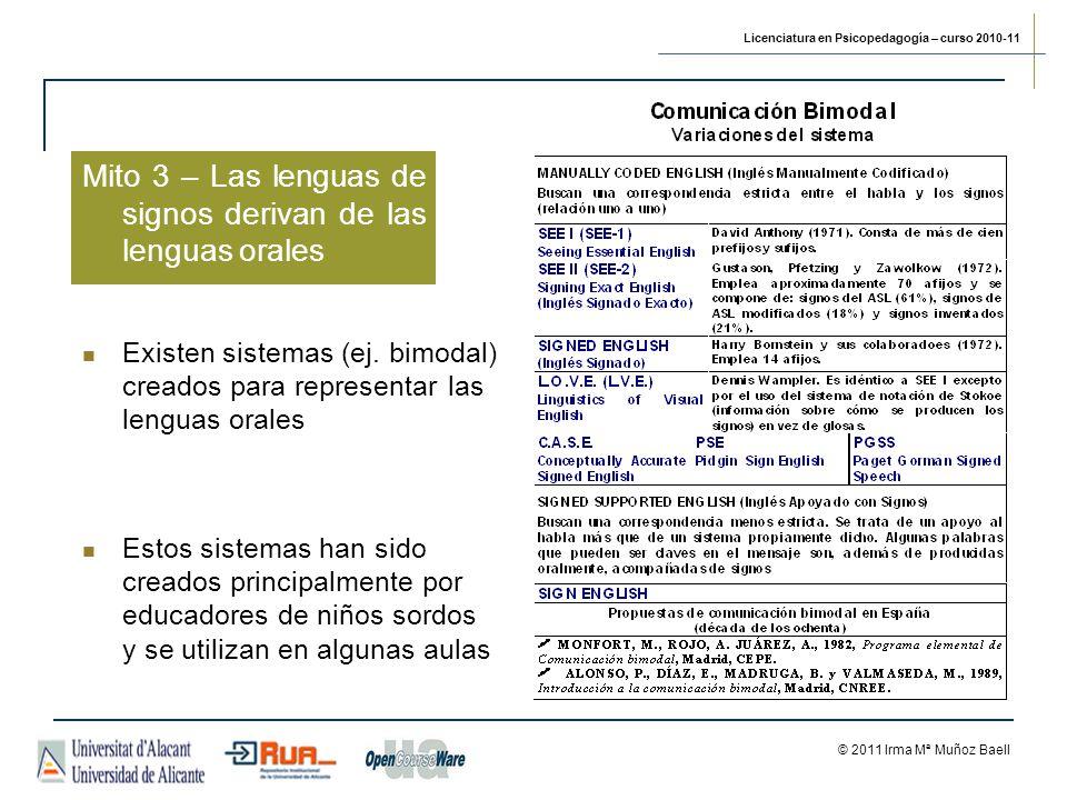 Licenciatura en Psicopedagogía – curso 2010-11 © 2011 Irma Mª Muñoz Baell Mito 3 – Las lenguas de signos derivan de las lenguas orales Estos sistemas han sido creados principalmente por educadores de niños sordos y se utilizan en algunas aulas Existen sistemas (ej.