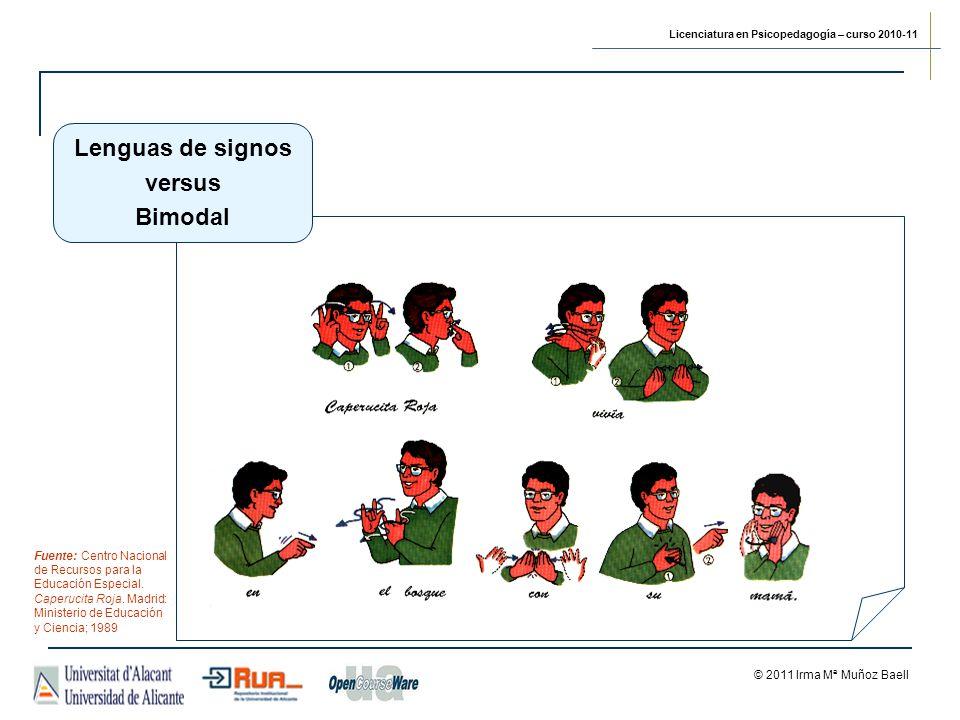 Licenciatura en Psicopedagogía – curso 2010-11 © 2011 Irma Mª Muñoz Baell Lenguas de signos versus Bimodal Fuente: Centro Nacional de Recursos para la Educación Especial.