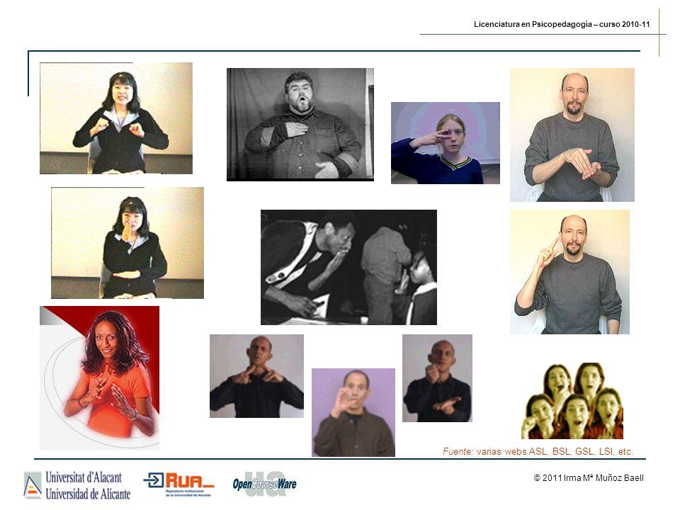 Licenciatura en Psicopedagogía – curso 2010-11 © 2011 Irma Mª Muñoz Baell Fuente: varias webs ASL, BSL, GSL, LSI, etc.