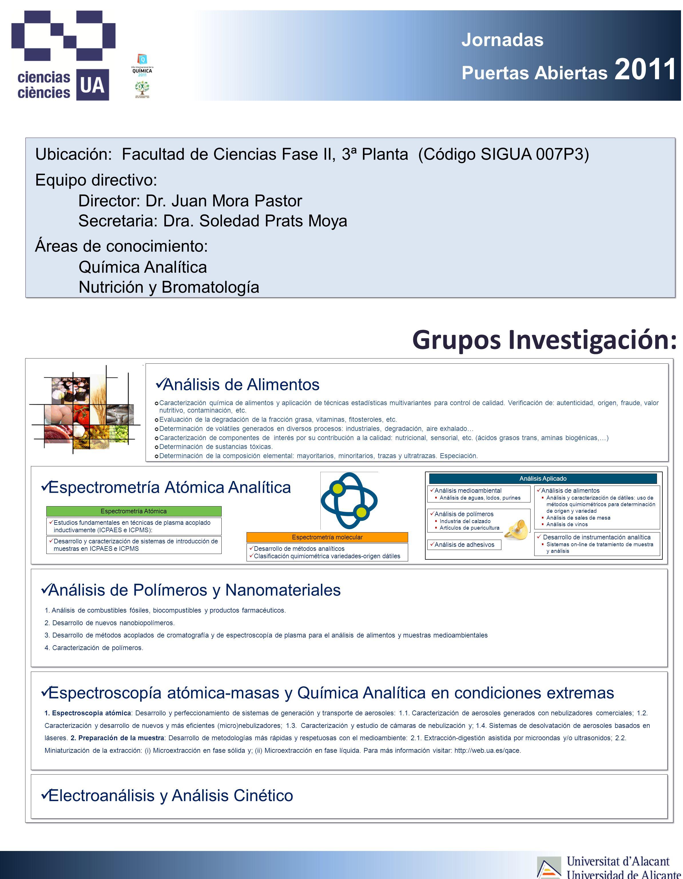 Jornadas Puertas Abiertas 2011 Grupos Investigación: Ubicación: Facultad de Ciencias Fase II, 3ª Planta (Código SIGUA 007P3) Director: Dr.