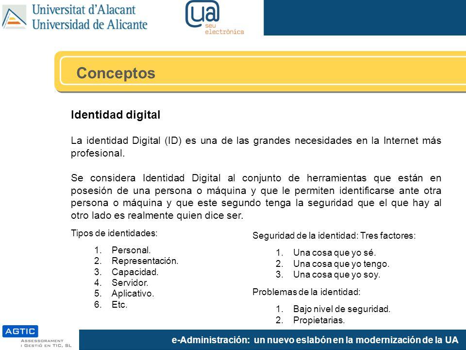e-Administración: un nuevo eslabón en la modernización de la UA Identidad digital La identidad Digital (ID) es una de las grandes necesidades en la Internet más profesional.