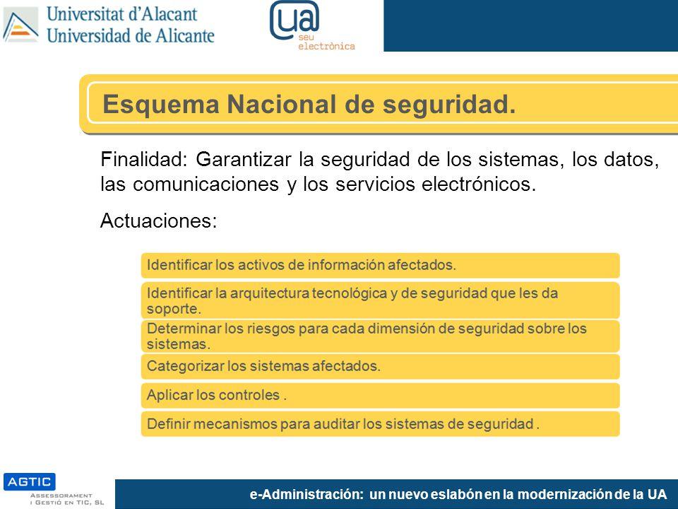 e-Administración: un nuevo eslabón en la modernización de la UA Esquema Nacional de seguridad.