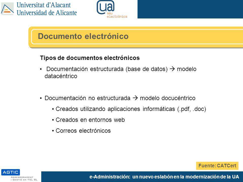 e-Administración: un nuevo eslabón en la modernización de la UA Tipos de documentos electrónicos Documentación estructurada (base de datos) modelo datacéntrico Documentación no estructurada modelo docucéntrico Creados utilizando aplicaciones informáticas (.pdf,.doc) Creados en entornos web Correos electrónicos Documento electrónico Fuente: CATCert