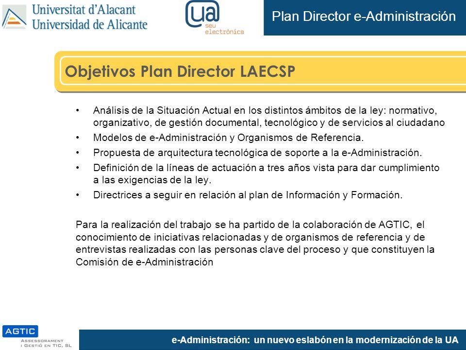 e-Administración: un nuevo eslabón en la modernización de la UA Objetivos Plan Director LAECSP Análisis de la Situación Actual en los distintos ámbitos de la ley: normativo, organizativo, de gestión documental, tecnológico y de servicios al ciudadano Modelos de e-Administración y Organismos de Referencia.