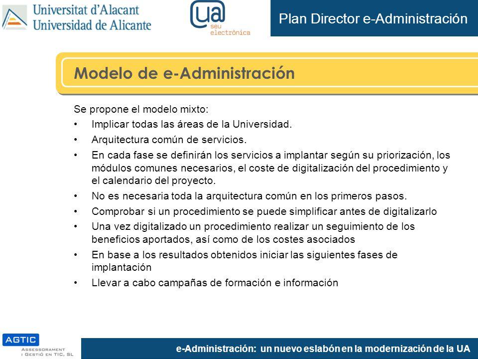 e-Administración: un nuevo eslabón en la modernización de la UA Modelo de e-Administración Se propone el modelo mixto: Implicar todas las áreas de la Universidad.