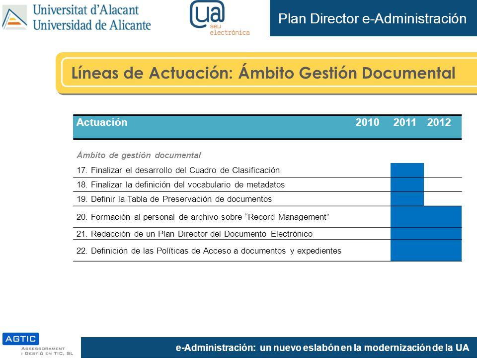 e-Administración: un nuevo eslabón en la modernización de la UA Líneas de Actuación: Ámbito Gestión Documental Plan Director e-Administración Actuación201020112012 Ámbito de gestión documental 17.