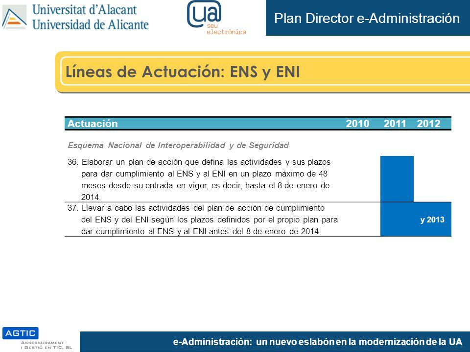 e-Administración: un nuevo eslabón en la modernización de la UA Líneas de Actuación: ENS y ENI Plan Director e-Administración