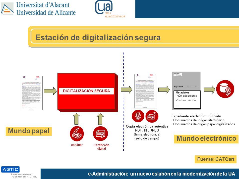 e-Administración: un nuevo eslabón en la modernización de la UA Metadatos: -Núm expediente -Fecha creación … Copia electrónica auténtica PDF, TIF, JPE