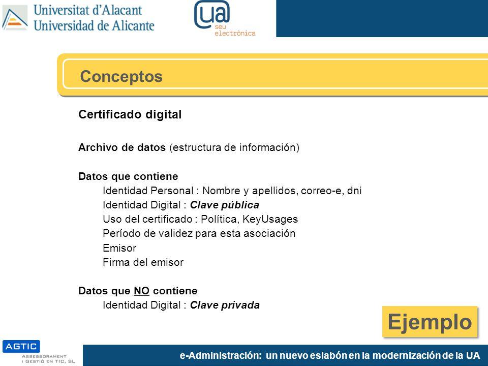 e-Administración: un nuevo eslabón en la modernización de la UA Certificado digital Archivo de datos (estructura de información) Datos que contiene Id