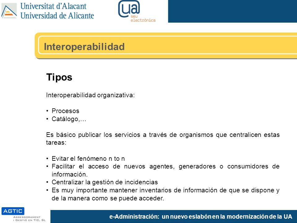 e-Administración: un nuevo eslabón en la modernización de la UA Tipos Interoperabilidad organizativa: Procesos Catálogo,… Es básico publicar los servi