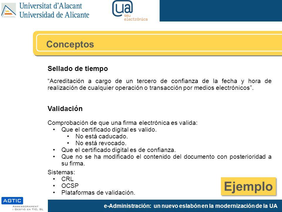 e-Administración: un nuevo eslabón en la modernización de la UA Sellado de tiempo Acreditación a cargo de un tercero de confianza de la fecha y hora d
