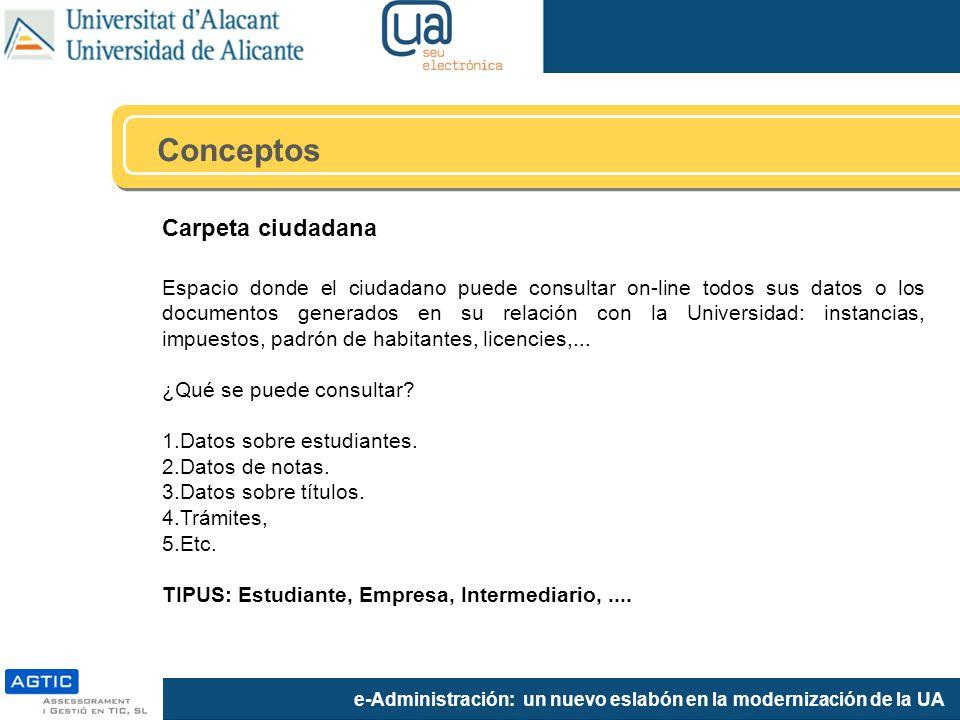 e-Administración: un nuevo eslabón en la modernización de la UA Carpeta ciudadana Espacio donde el ciudadano puede consultar on-line todos sus datos o