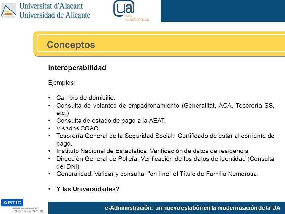 e-Administración: un nuevo eslabón en la modernización de la UA Interoperabilidad Ejemplos: Cambio de domicilio. Consulta de volantes de empadronamien