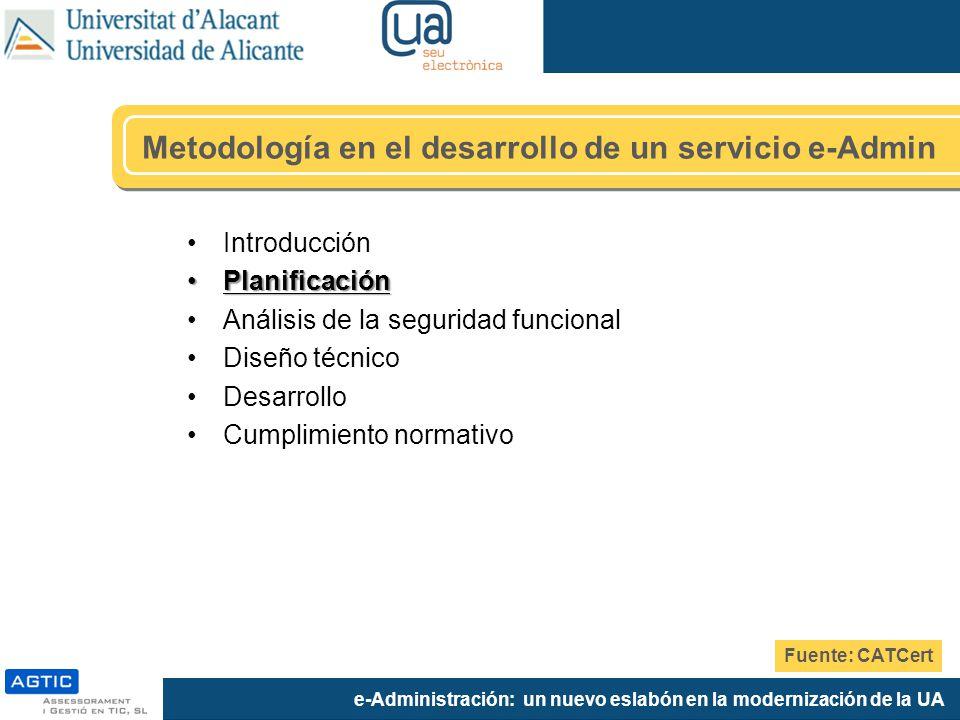 e-Administración: un nuevo eslabón en la modernización de la UA Metodología en el desarrollo de un servicio e-Admin Introducción PlanificaciónPlanific