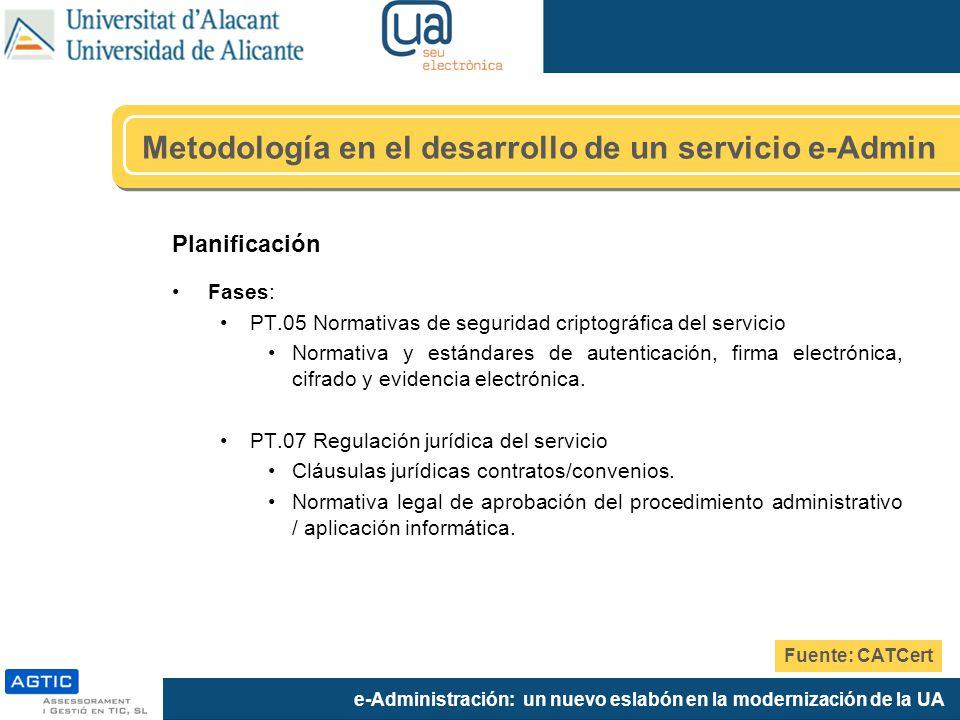e-Administración: un nuevo eslabón en la modernización de la UA Planificación Fases: PT.05 Normativas de seguridad criptográfica del servicio Normativ