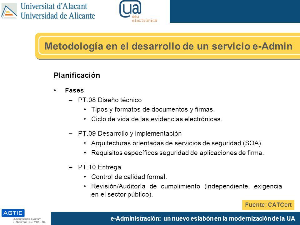 e-Administración: un nuevo eslabón en la modernización de la UA Planificación Fases –PT.08 Diseño técnico Tipos y formatos de documentos y firmas.