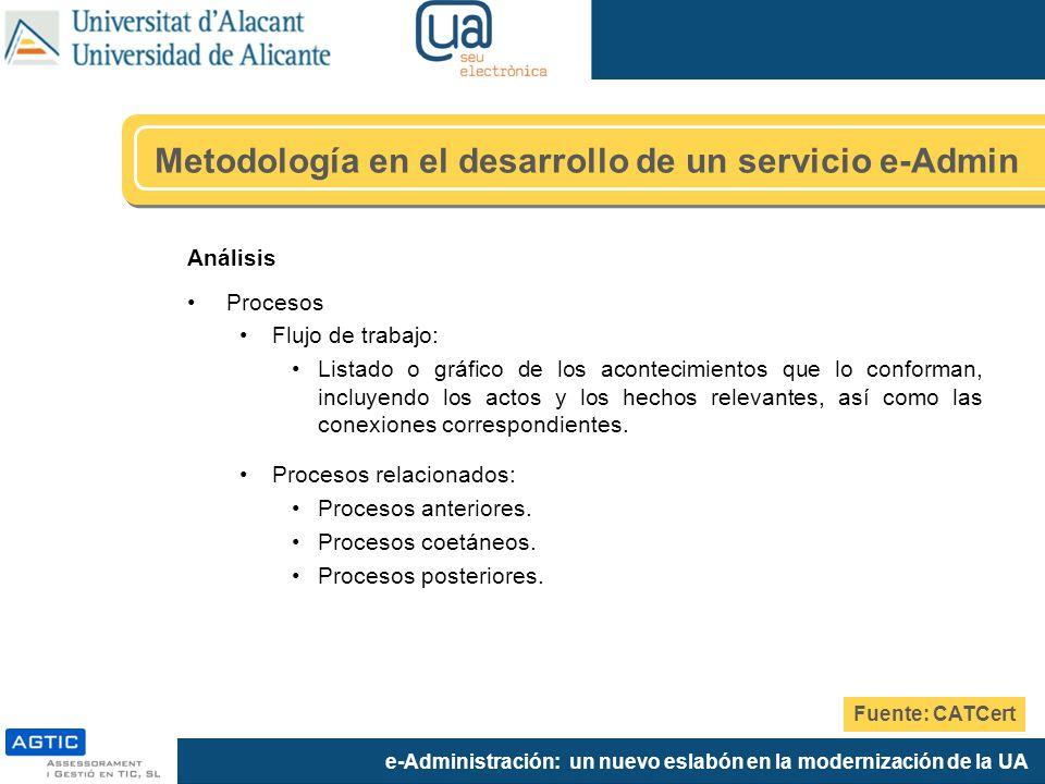 e-Administración: un nuevo eslabón en la modernización de la UA Análisis Procesos Flujo de trabajo: Listado o gráfico de los acontecimientos que lo co