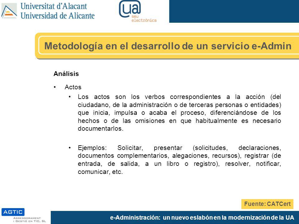 e-Administración: un nuevo eslabón en la modernización de la UA Análisis Actos Los actos son los verbos correspondientes a la acción (del ciudadano, d