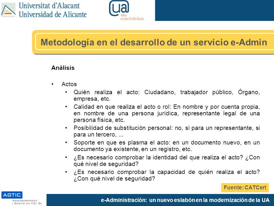 e-Administración: un nuevo eslabón en la modernización de la UA Análisis Actos Quién realiza el acto: Ciudadano, trabajador público, Órgano, empresa,