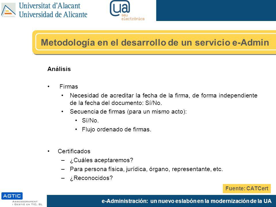 e-Administración: un nuevo eslabón en la modernización de la UA Análisis Firmas Necesidad de acreditar la fecha de la firma, de forma independiente de la fecha del documento: Sí/No.