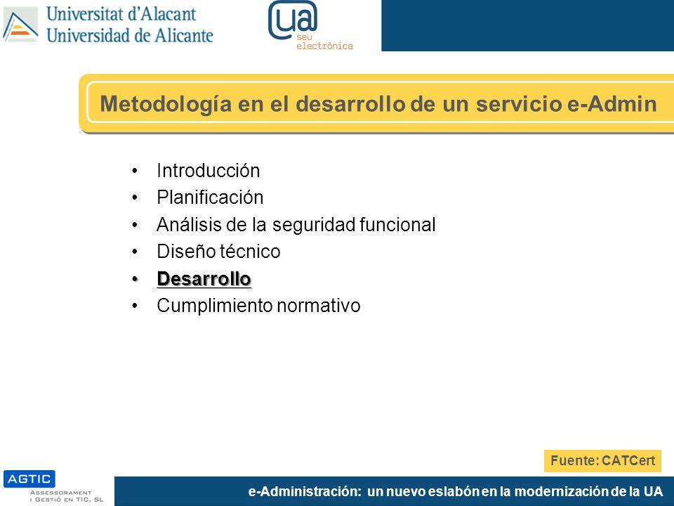 e-Administración: un nuevo eslabón en la modernización de la UA Metodología en el desarrollo de un servicio e-Admin Introducción Planificación Análisi